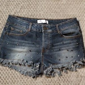 No Boundaries Distressed Studded Jean Shorts